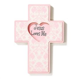 Wall Cross - Jesus Loves Me, Pink (Wood)