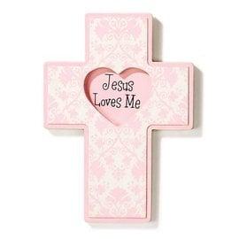 Wall Cross - Jesus Loves Me, Pink (Wood)
