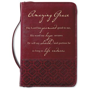 Bible Cover - Amazing Grace, Rich Red