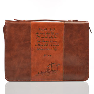 Bible Cover - God So Loved the World, Brown/Tan