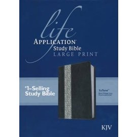 KJV Large Print Life Application Study Bible, Black/Ivory LeatherLike