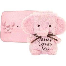 """Blankie - """"Jesus Loves Me"""" Elephant, Pink"""