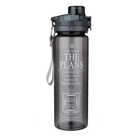 Plastic Water Bottle - For I Know the Plans, Black