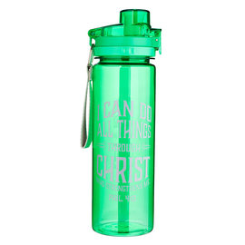Plastic Water Bottle - I Can Do All Things, Green