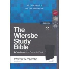 NKJV Large Print Wiersbe Study Bible, Black Leathersoft