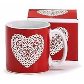 CLEARANCE Mug - Red Lace White Heart