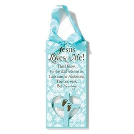 Plaque - Jesus Loves Me, Blue