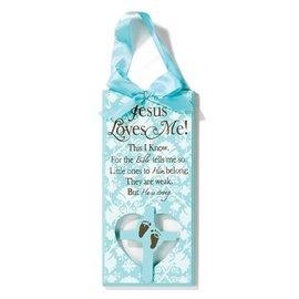 Plaque - Jesus Loves Me, Blue