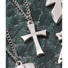 Necklace - Thin Flare Cross, Pewter