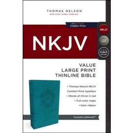 NKJV Large Print Thinline Bible, Turquoise Leathersoft