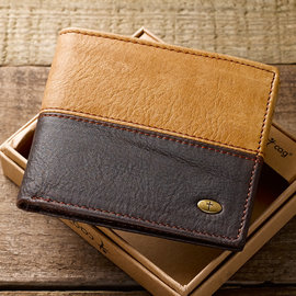 Men's Wallet - 2 Tone with Cross, Leather