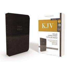 KJV Large Print Thinline Bible, Charcoal Leathersoft