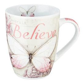 Mug - Believe, Pink Butterfly