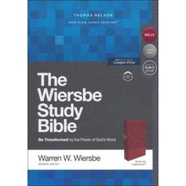 NKJV Large Print Wiersbe Study Bible, Burgundy Leathersoft