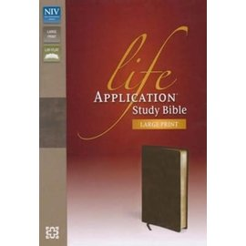 NIV Large Print Life Application Study Bible, Brown Bonded Leather, Indexed