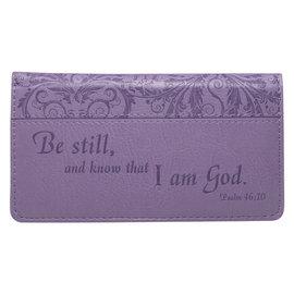 Checkbook Cover - Be Still, Purple