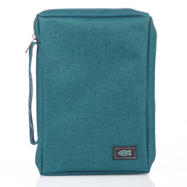 Bible Cover - Canvas with Fish, Teal, Small
