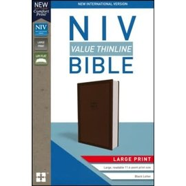 NIV Large Print Thinline Bible, Brown Leathersoft