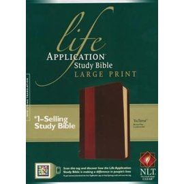 NLT Large Print Life Application Study Bible, Brown/Tan LeatherLike