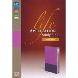NIV Large Print Life Application Study Bible, Orchid/Plum Leathersoft