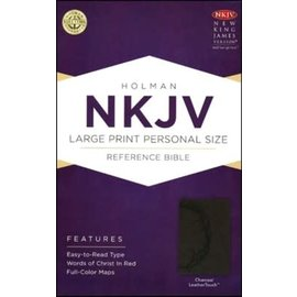 NKJV Large Print Reference Bible, Charcoal LeatherTouch