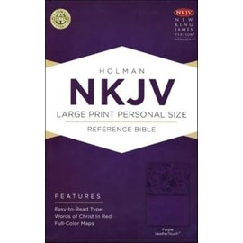 NKJV Large Print Reference Bible, Purple LeatherTouch