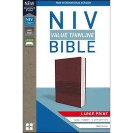 NIV Large Print Thinline Bible, Burgundy Leathersoft
