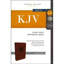 KJV Giant Print Reference Bible, Brown Leathersoft