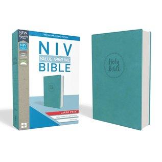 NIV Large Print Thinline Bible, Blue Leathersoft