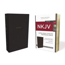 NKJV Large Print Thinline Reference Bible, Black Leathersoft