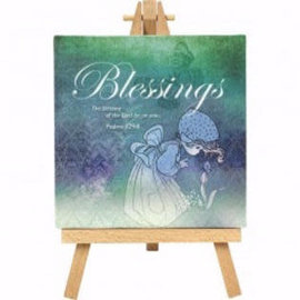 "Home Decor - Blessings Canvas w/Stand (8"" x 5"")"
