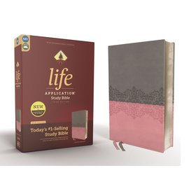NIV Life Application Study Bible, Gray/Pink Leathersoft, Red Letter