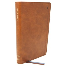NET Large Print Thinline Bible, British Tan Leathersoft
