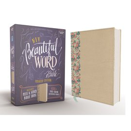 NIV Beautiful Word Bible, Gold/Floral Leathersoft over Board, Peel/Stick Bible Tabs