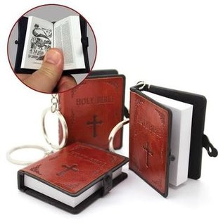Bible Keychain, Extra Large Brown