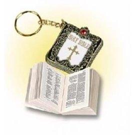 Bible Keychain, Metallic Gold/White