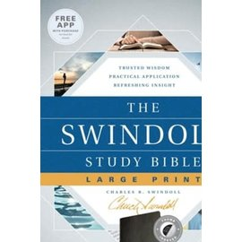 NLT Swindoll Large Print Study Bible, Black LeatherLike, Indexed
