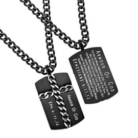 Black Chain Cross Necklace: Armor of God, Upgraded Chain 24""