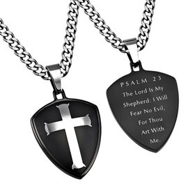R2 Black Shield Cross Necklace: Psalm 23, Upgraded Chain 24""