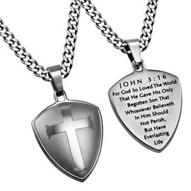 R2 Silver Shield Cross Necklace: John 3:16, Upgraded Chain 24""