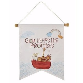 "Wall Banner - Noah's Ark, God Keeps His Promises (14"" x 17"")"