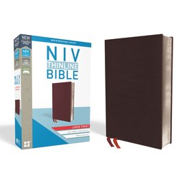 NIV Large Print Thinline Bible, Burgundy Bonded Leather, Indexed
