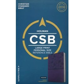 CSB Large Print Reference Bible, Purple LeatherTouch, Indexed