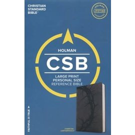 CSB Large Print Reference Bible, Charcoal LeatherTouch