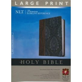NLT Large Print Reference Bible, Brown/Blue LeatherLike