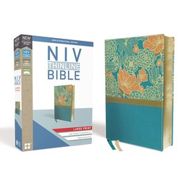 NIV Large Print Thinline Bible, Blue Flowers Leathersoft