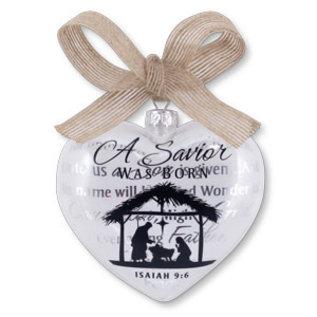 Ornament - A Savior Was Born, Nativity, Glass