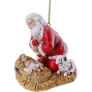 "Ornament - Kneeling Santa w/Baby Jesus (2.5"")"