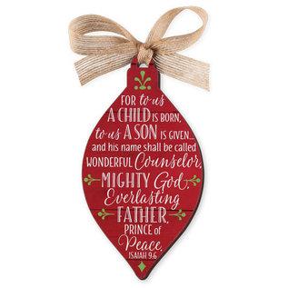Ornament - Red Barnwood, Jesus