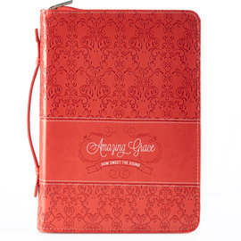 Bible Cover - Amazing Grace, Large (Coral)